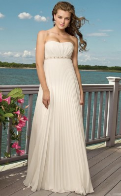 Column Beach Wedding Dress